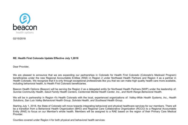 Beacon Notice - Health First Colorado - Ponderosa